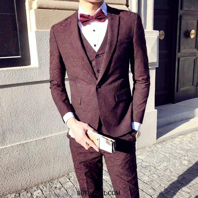 Abito Completo Uomo Scontate Slim Fit Gentiluomo Modello Vintage Blazer Tuta Bordeaux