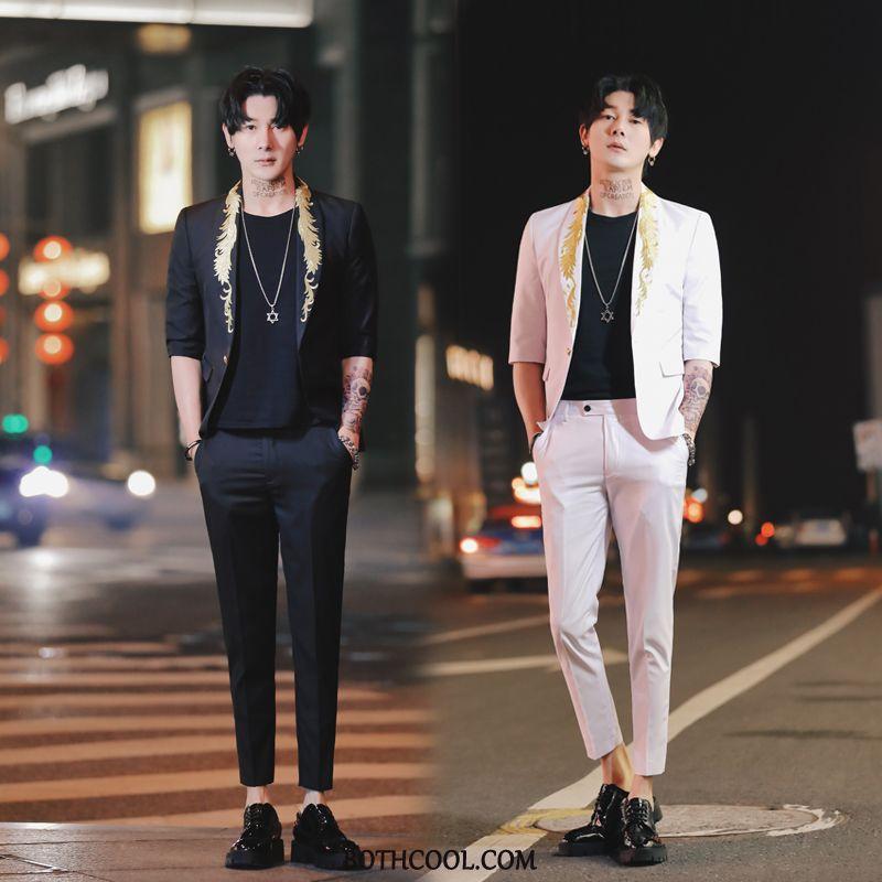Suits Mens Buy Sleeve Suit Slim Fit Dress Set Trend Black