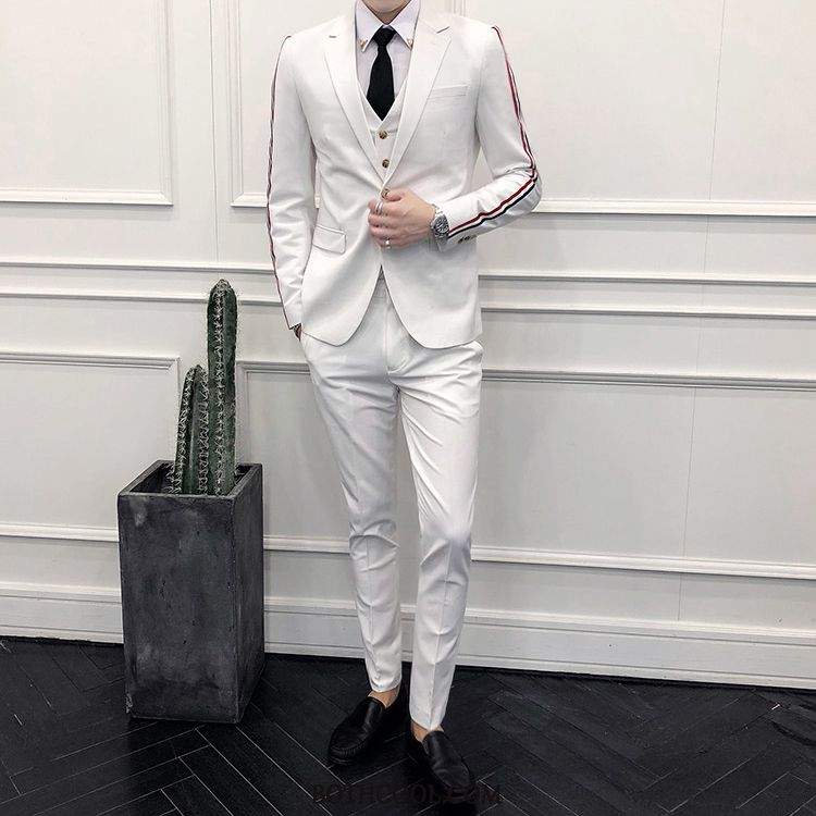 Suits Mens Buy Suit Set Youth Three Sets Slim Fit Men's Stripe White