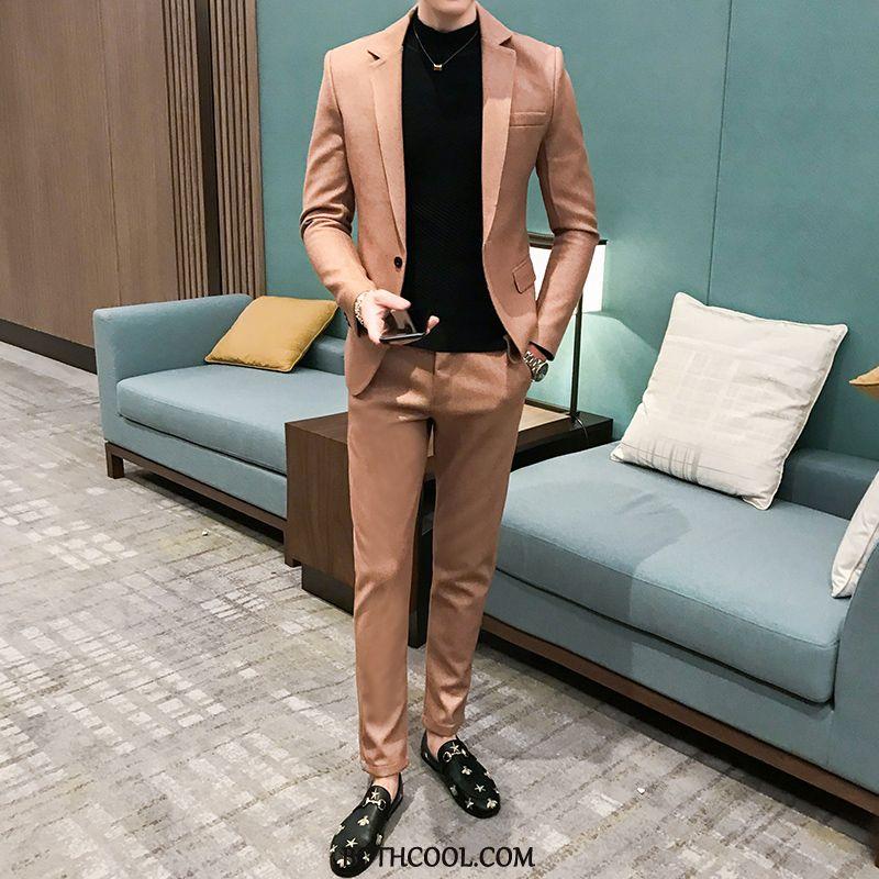 Suits Mens Buy Woolen Autumn Europe Handsome Coat New Coffee