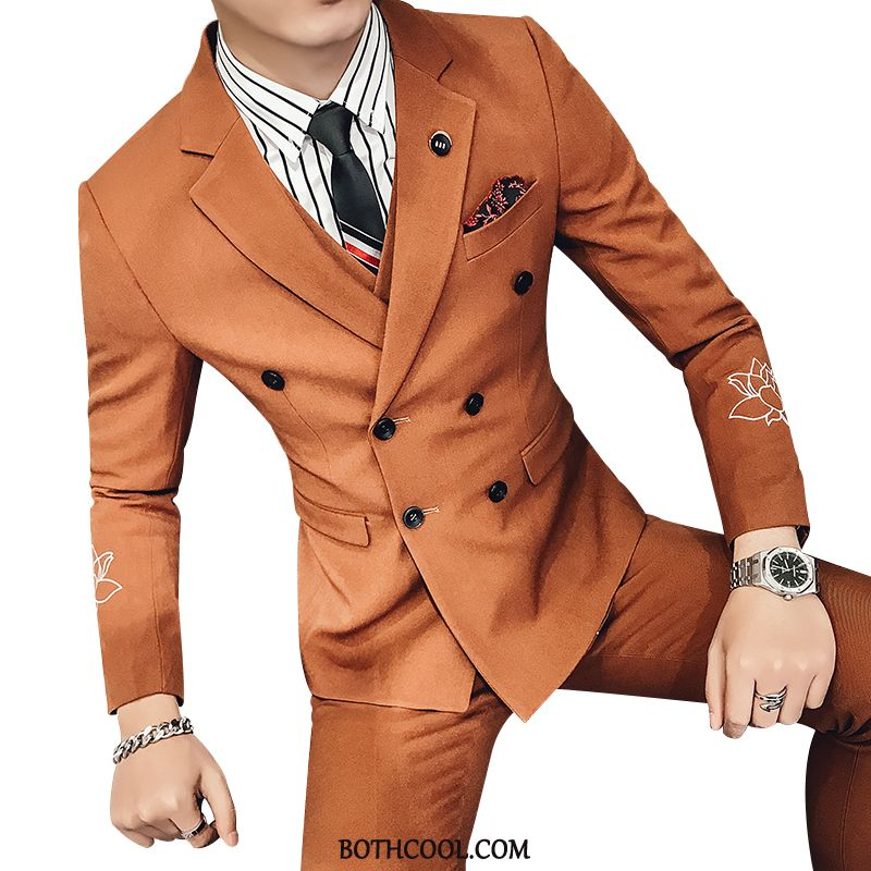 Suits Mens Cheap Autumn Embroidery Double Breasted Set Winter Europe