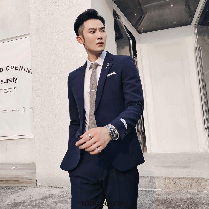 Suits Mens Cheap Autumn Slim Fit Solid Color Two Pieces Suit Men's Navy