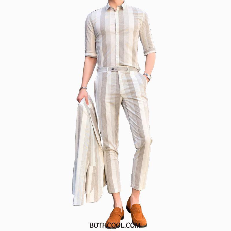Abito Completo Uomo In Vendita Vestiti Sottili Estate Blazer Bello Pantaloni Marrone