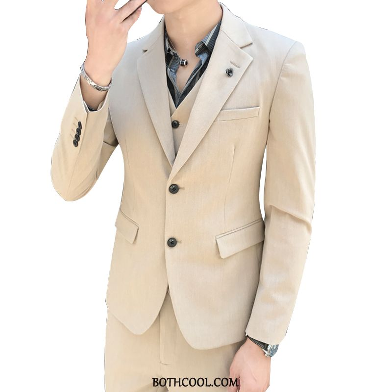 Anzüge Herren Geschäft Anzüge Dreiteiliger Slim Fit Männer Britain Jugend Khaki