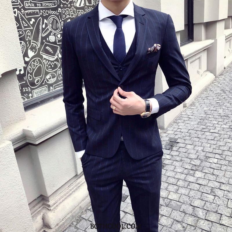 Suits Mens Cheap British Suit Europe Slim Fit Bridegroom Men's Stripe Navy