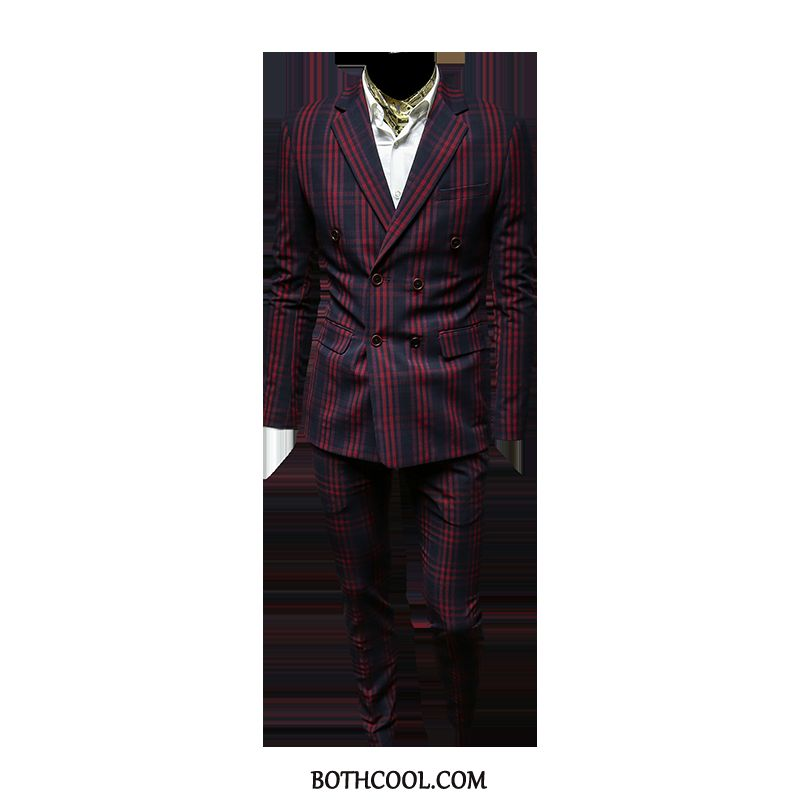 Suits Mens Cheap Checks Business Handsome Set Double Breasted Casual Red Wine Red