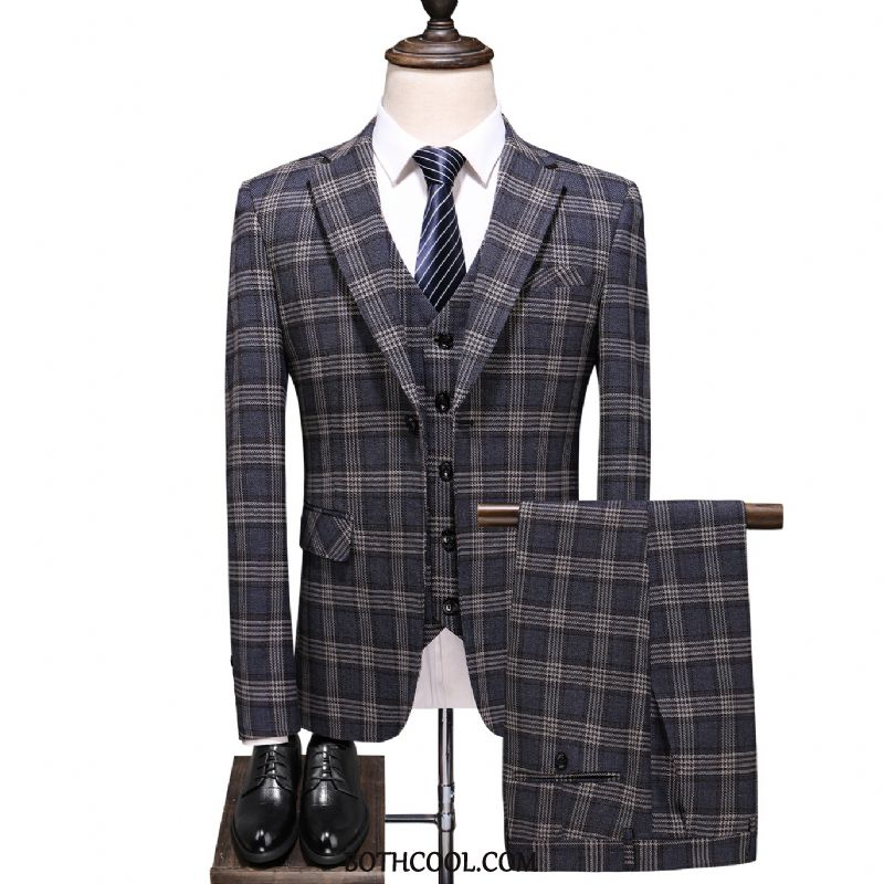 Suits Mens Cheap Checks Suit Slim Fit Formal Suit Men's British Blue