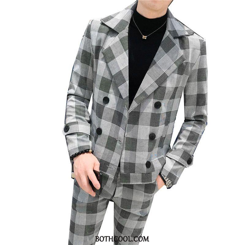 Abito Completo Uomo Comprare A Quadri Tendenza Primavera Casual Cappotto Tuta Grigio Chiaro