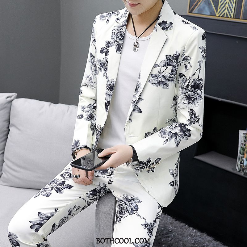 Suits Mens Cheap Flower Blazer Men's Suit Business Chinese Style Printing Pattern White