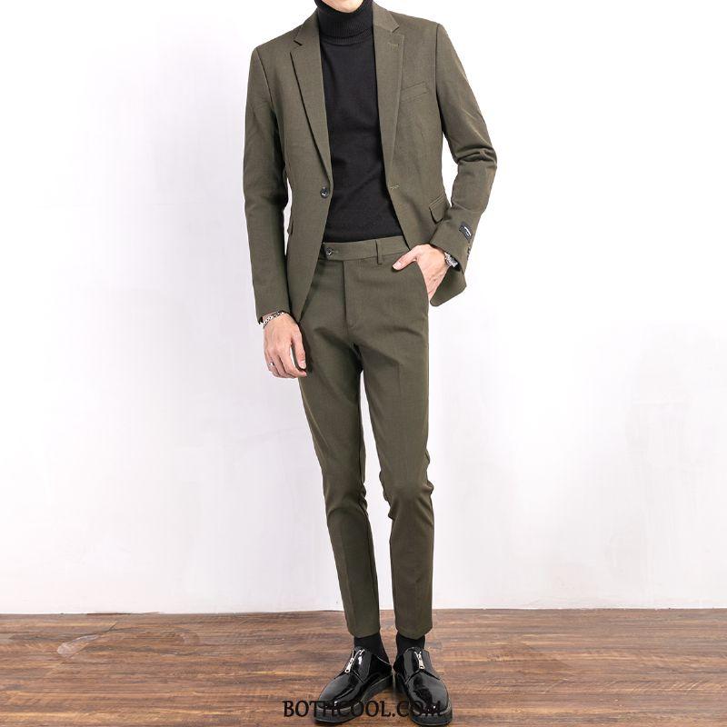 Suits Mens Cheap Handsome Slim Fit Coat Suit Bridegroom Set Green
