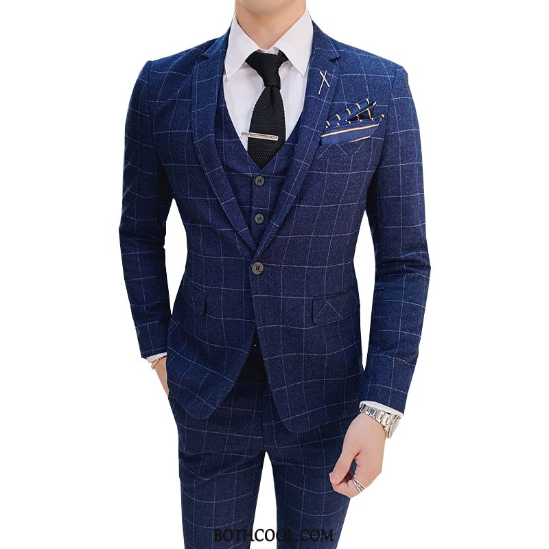 Suits Mens Cheap Men's Slim Fit Set Marriage Casual Best Man Blue