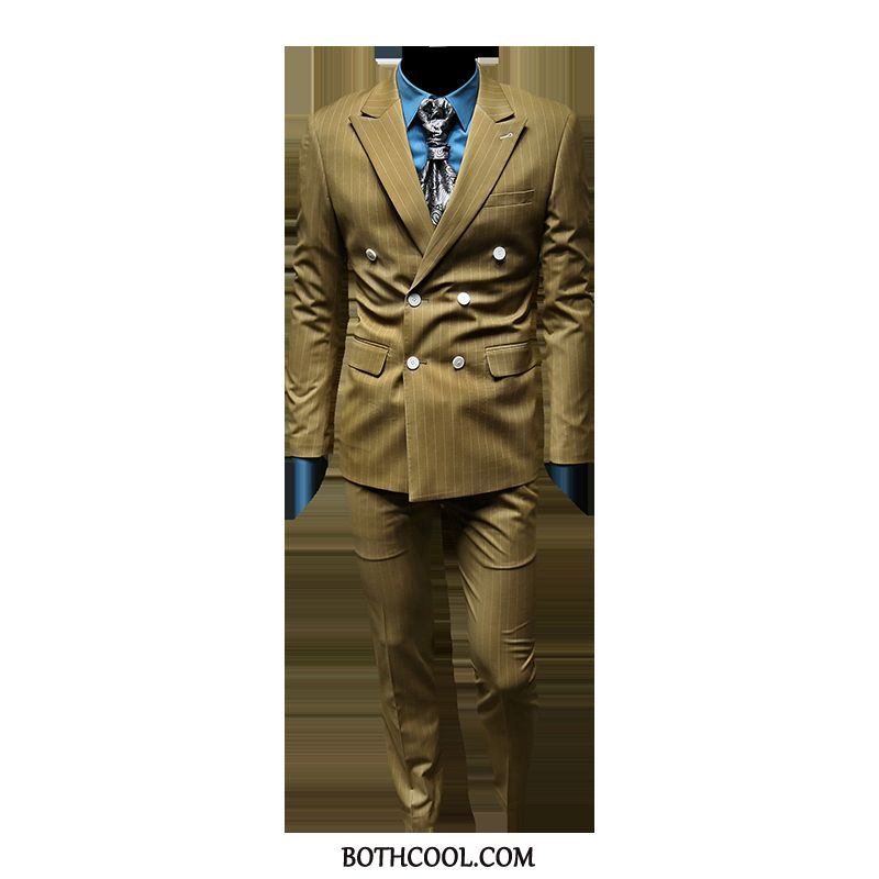 Suits Mens Cheap Men's Suit Business Marriage Double Breasted Best Man Stripe