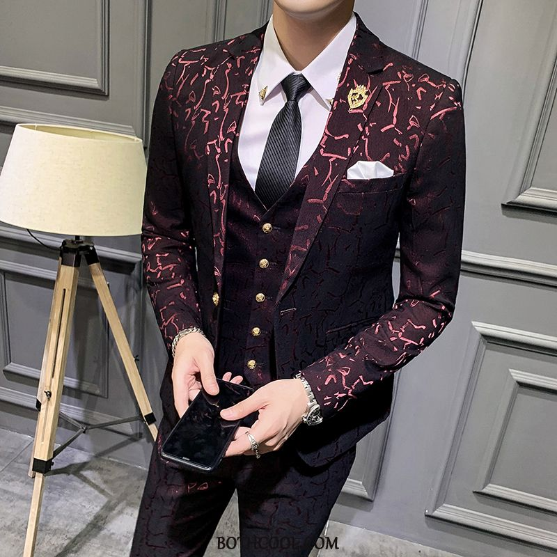 Suits Mens Cheap New Suit Bridegroom Casual Slim Fit Youth Red