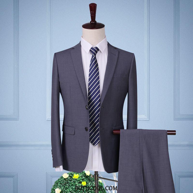 Suits Mens Cheap Professional Bridegroom Pants Slim Fit Tops Wedding Gray