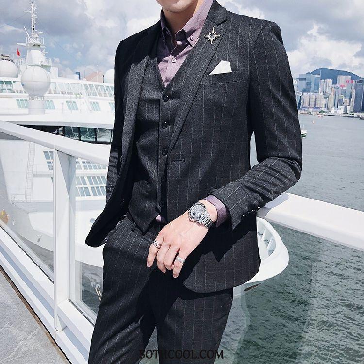 Suits Mens Cheap Set Europe Checks Trend Men Suit Black