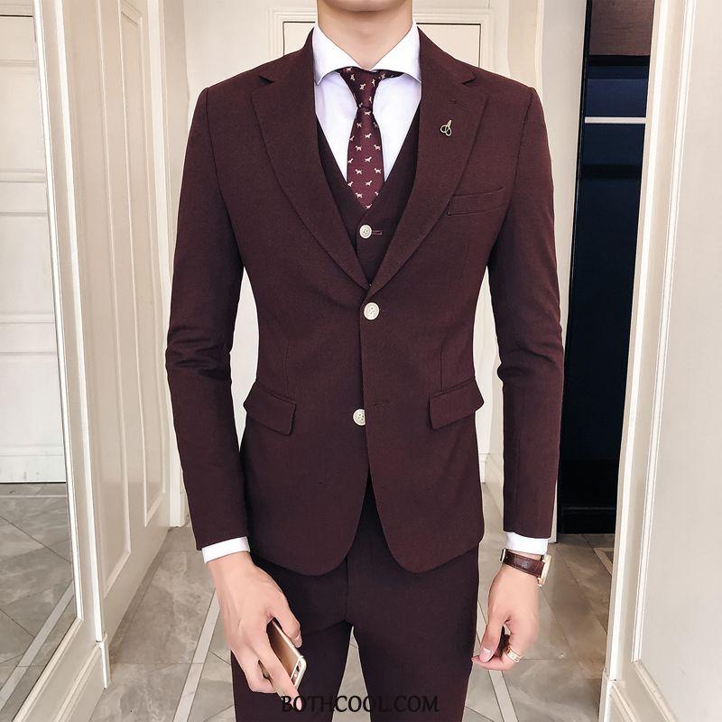 Suits Mens Cheap Set Professional Suit Best Man Slim Fit Autumn Red