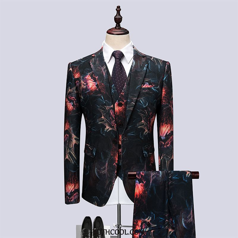 Suits Mens Cheap Set Show Europe Men's Presided Over Three Sets Printing