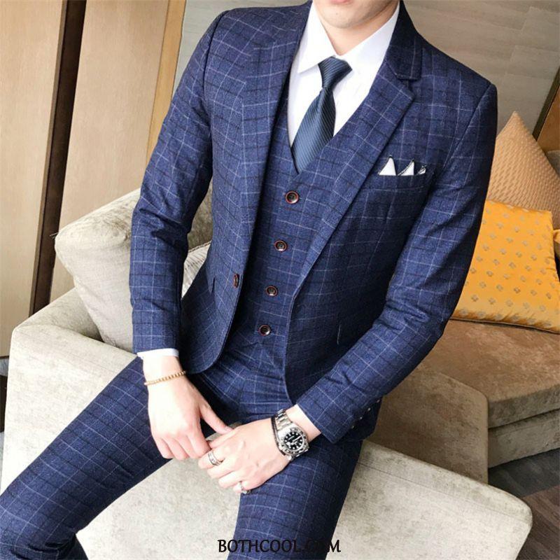 Suits Mens Cheap Set Slim Fit Youth Men's Professional Best Man Blue