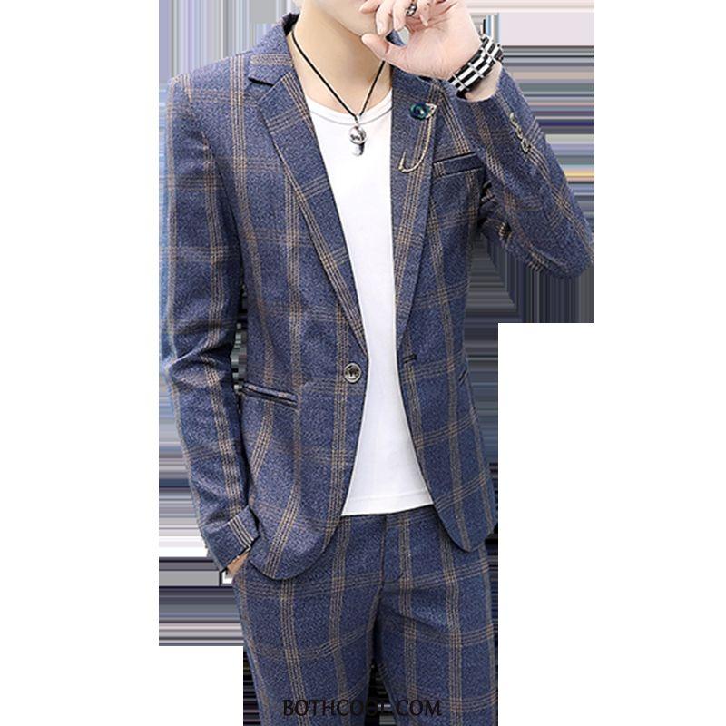 Abito Completo Uomo Economica Britannico Tuta Gioventù Slim Fit A Quadri Cappotto Blu