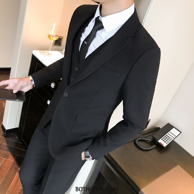 Suits Mens Cheap Slim Fit Men's Three Sets Casual Personality Europe Black