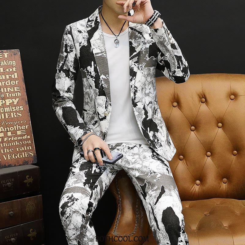 Suits Mens Cheap Slim Fit Set New Spring Dress Trend White Green
