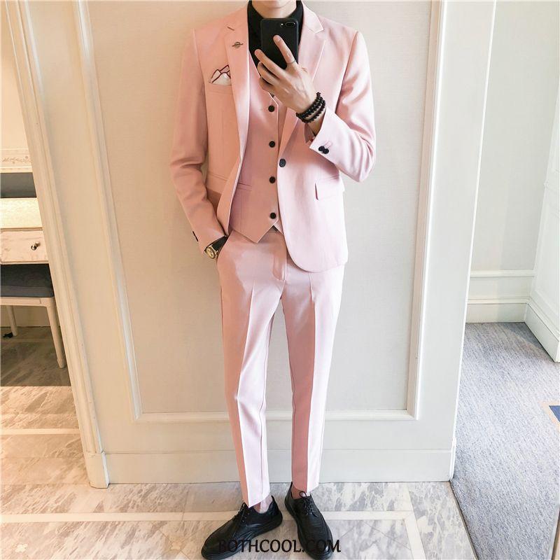 Puvut Miesten Halpa Puku Juhla-asu Puku Uusi Tiukka Vaatteet Puhdas Pinkki Punainen