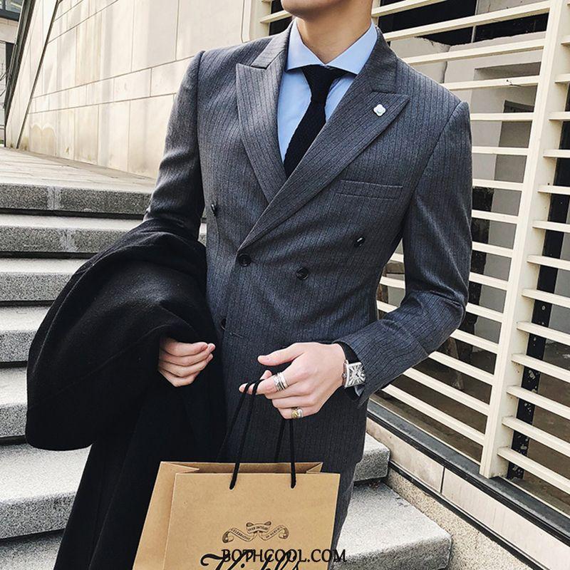 Suits Mens Cheap Slim Fit Suit Best Man Formal Suit Bridegroom Men's Stripe Blue