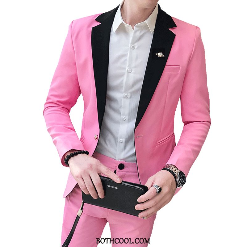 Suits Mens Cheap Slim Fit Suit Trend Youth Two Pieces Set Pink