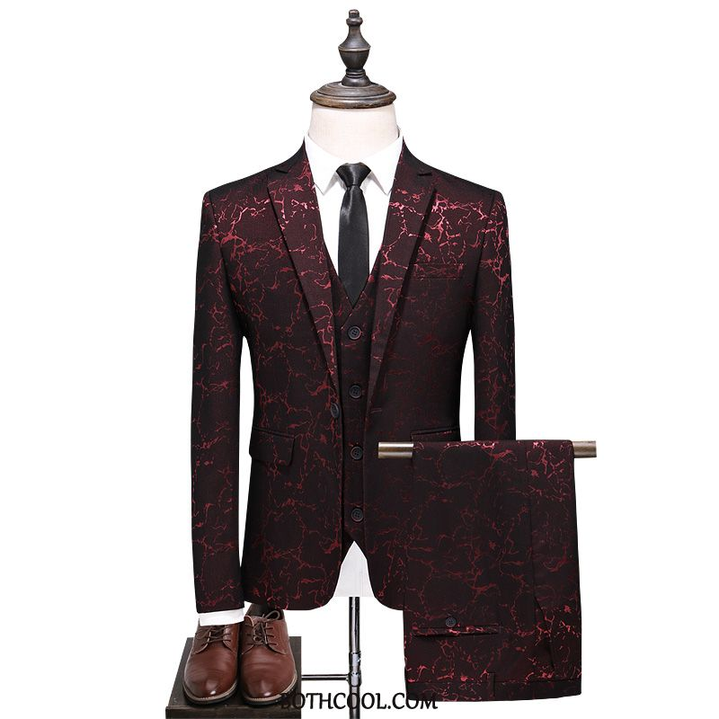 Suits Mens Cheap Slim Fit Suit Wedding Banquet Presided Over Stage Men Red