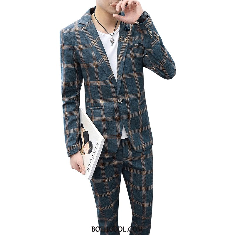 Abito Completo Uomo Online Tuta Blazer A Quadri Primavera Nuovo Slim Fit Blu