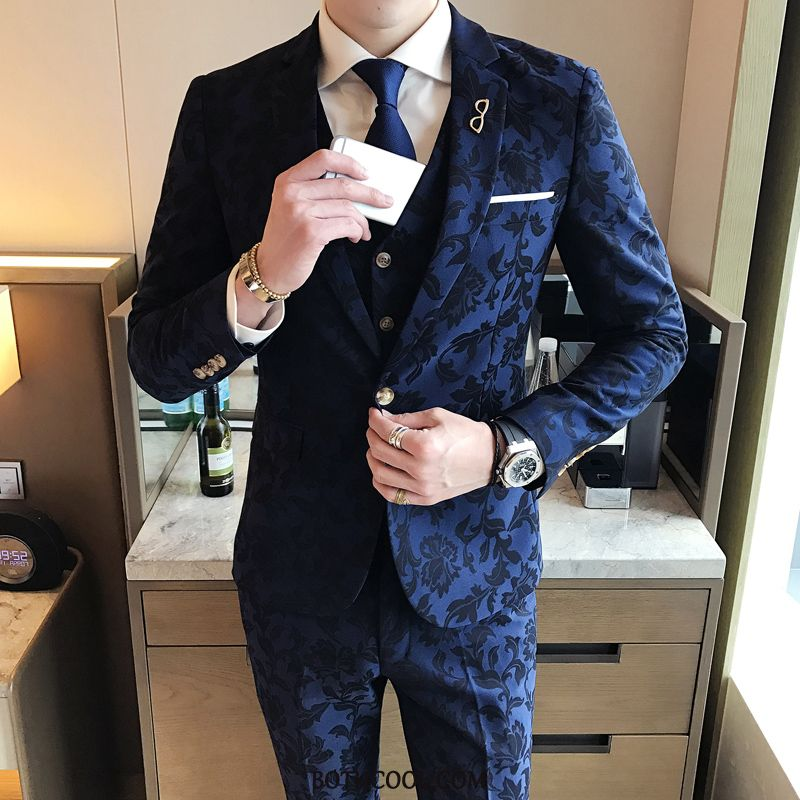 Suits Mens Cheap Suit British Wedding Show Banquet Three Sets Printing Blue
