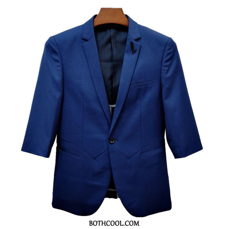 Suits Mens Cheap Suit Men's Half Sleeve Trend Slim Fit Thin Section Blue