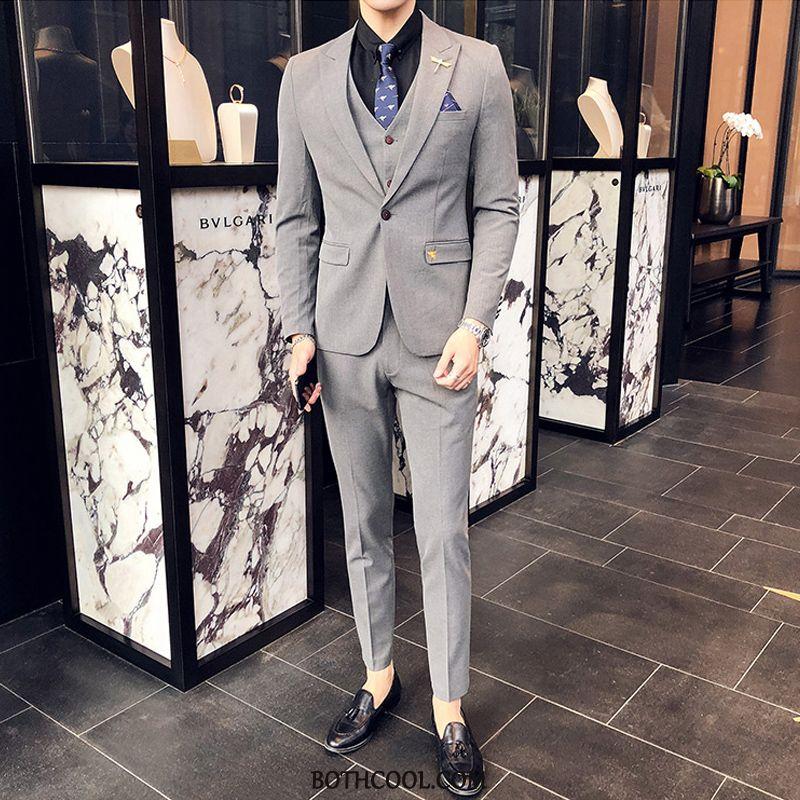Suits Mens Cheap Suit Set Slim Fit Formal Suit Three Sets Men White