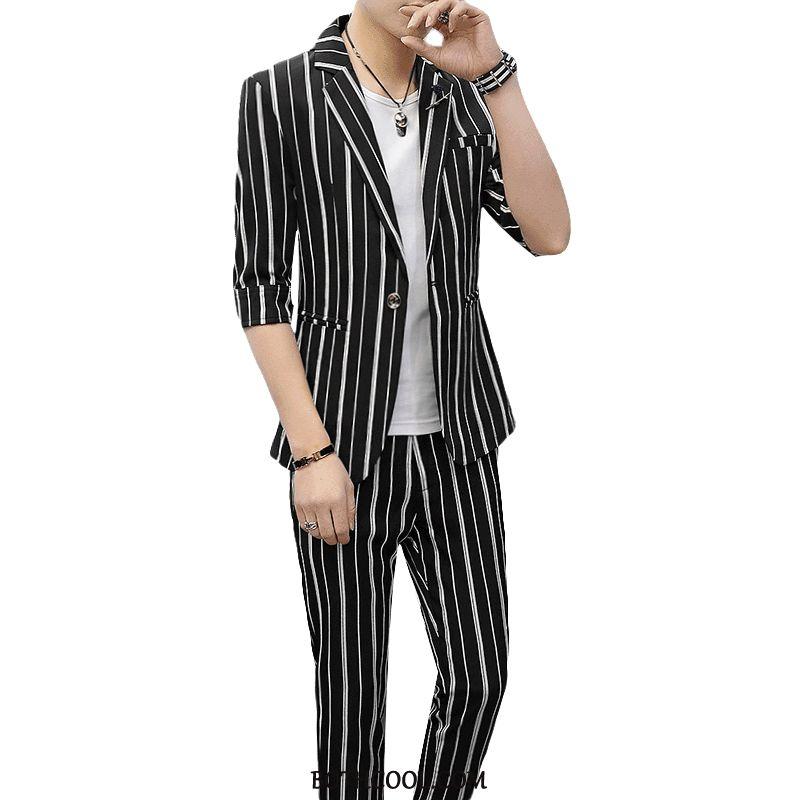 Suits Mens Cheap Summer Personality Men's Trend Suit Slim Fit Stripe Black