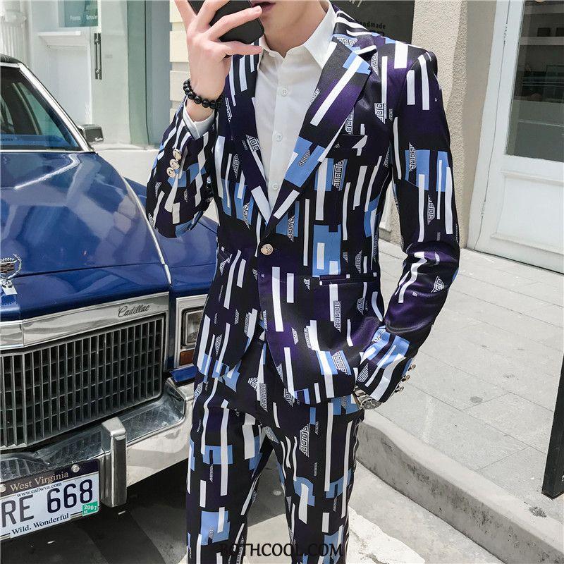 Suits Mens Cheap Teens Set Handsome Coat Men's Autumn Blue