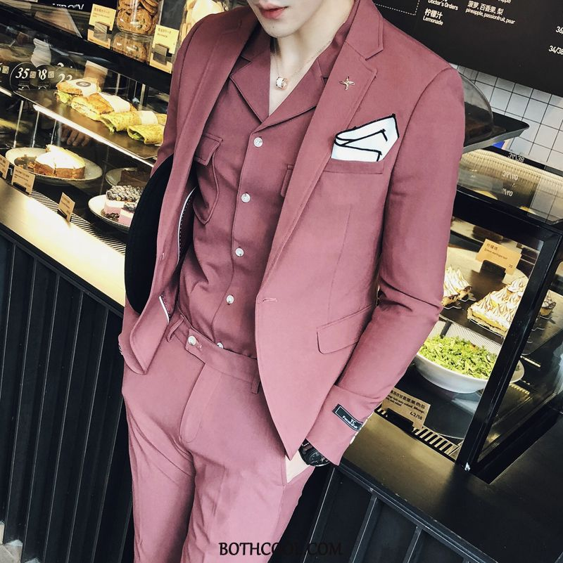 Suits Mens Cheap Thin Section Casual Slim Fit Two Pieces Men's Suit Red