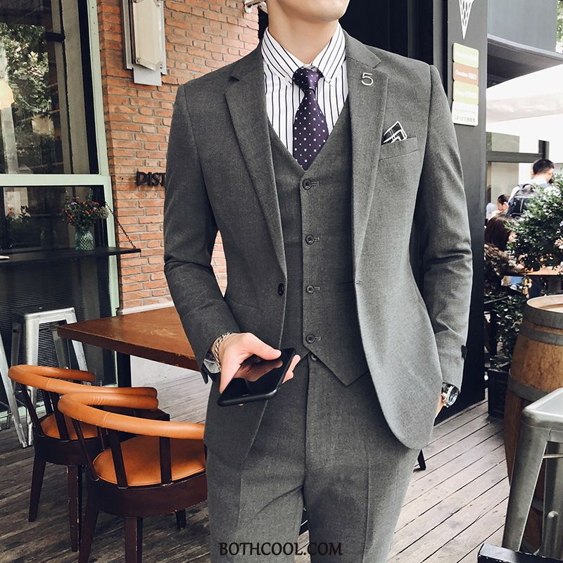 Suits Mens Cheap Three Sets Slim Fit Star Business Formal Suit Dress Gray