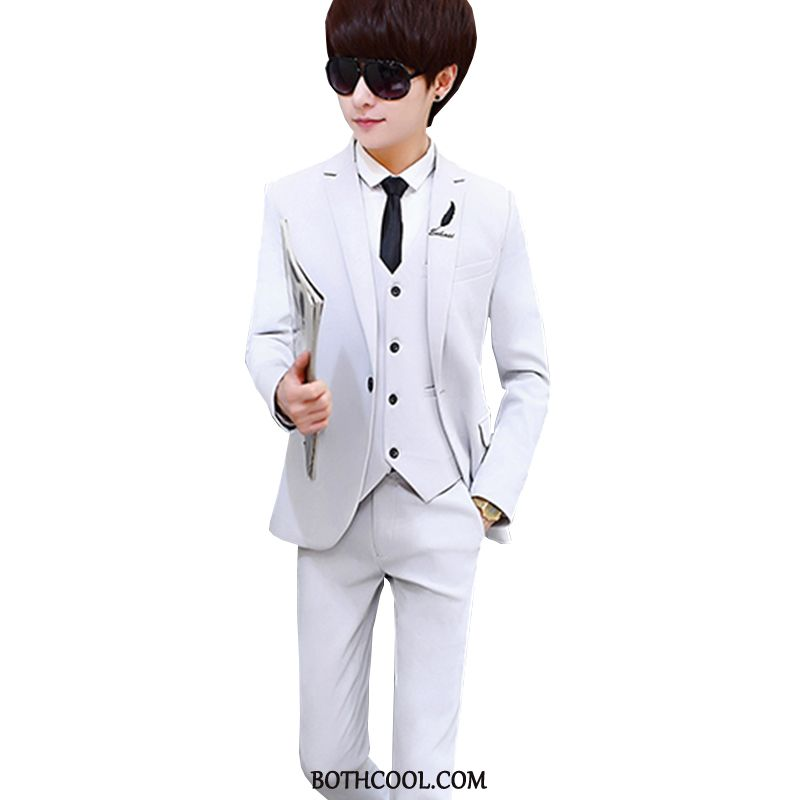 Suits Mens Cheap Trend Europe Student Three Sets Set Youth White