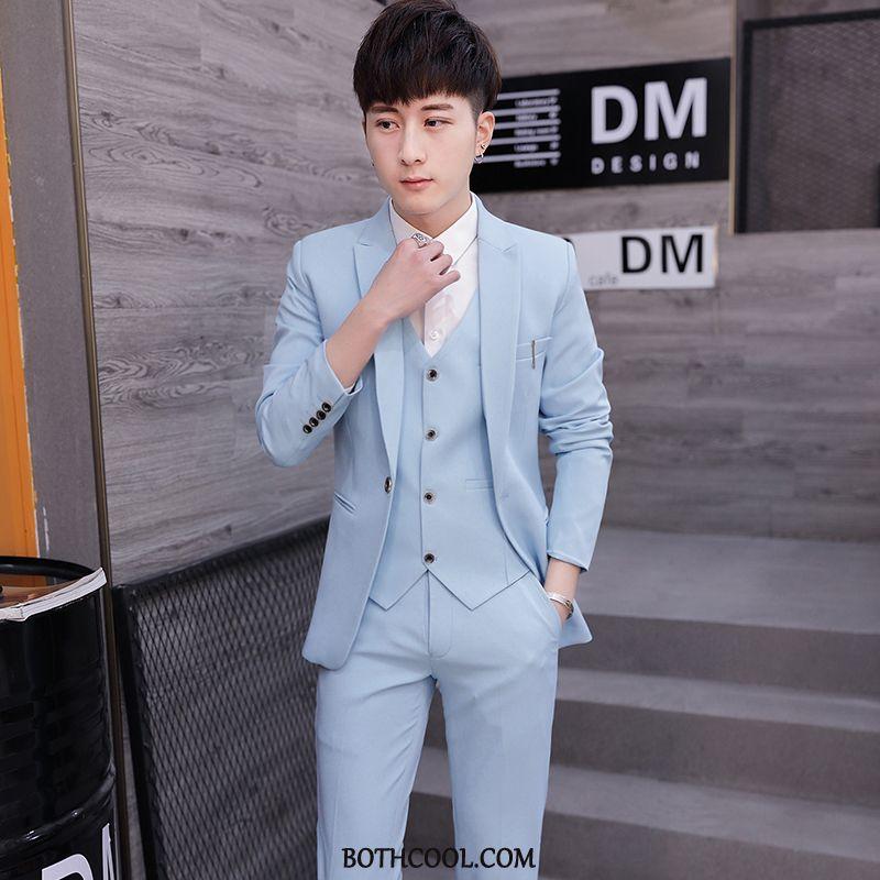Suits Mens Cheap Trend Men Slim Fit Bridegroom Set Formal Suit Blue