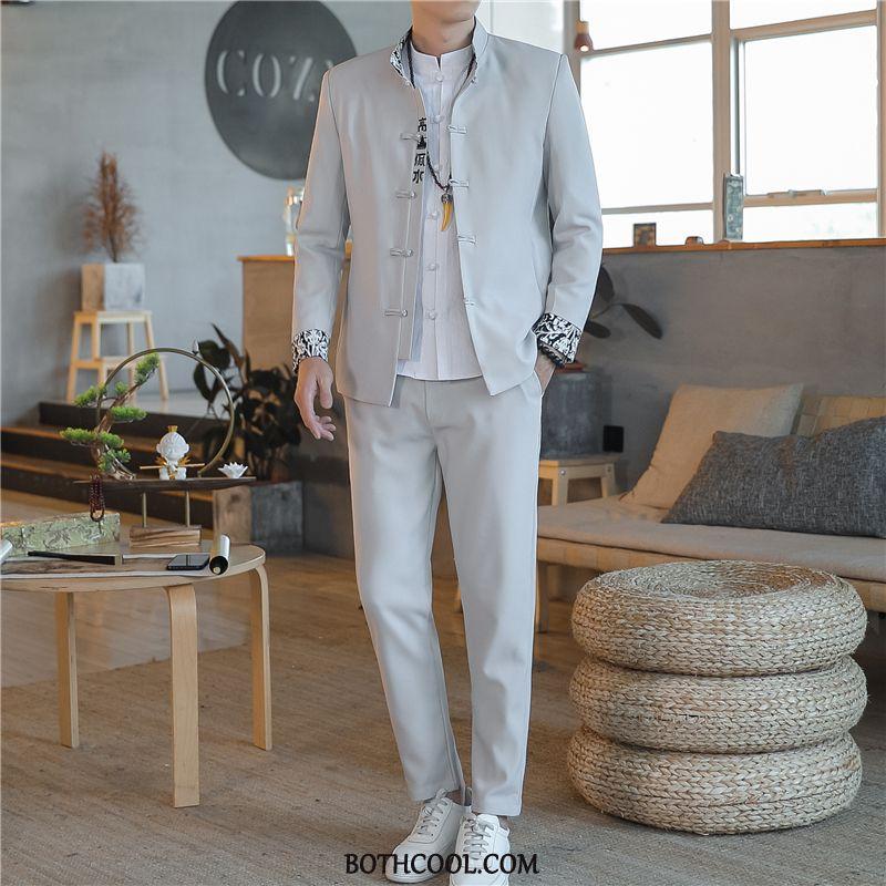 Suits Mens Cheap Trend Middle Coat Set Lace Suit Black