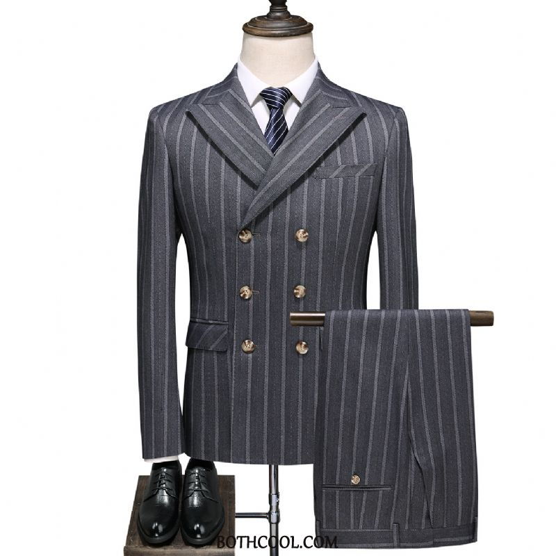 Suits Mens Cheap Trend Suit Dress Double Breasted Slim Fit Checks Black