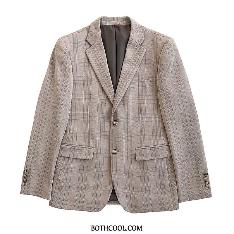 Suits Mens Cheap Trend Swallow Gird Slim Fit Two Pieces Europe Suit Khaki Light