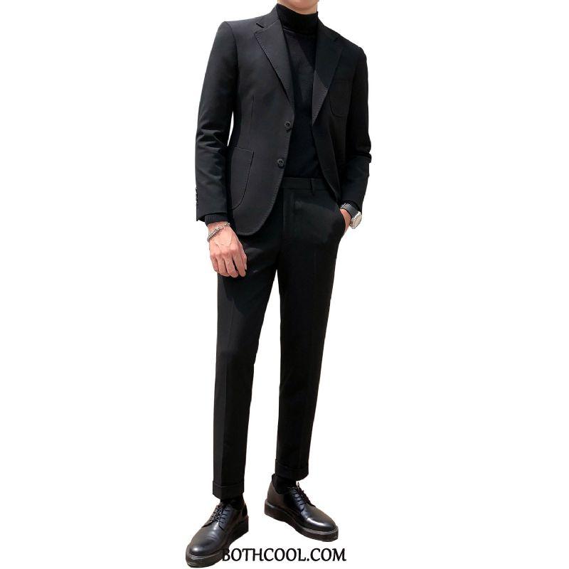 Trajes Hombre Baratos Slim Fit Nuevo Hombre 2019 Elegante Traje De Dos Piezas Color Sólido Negro