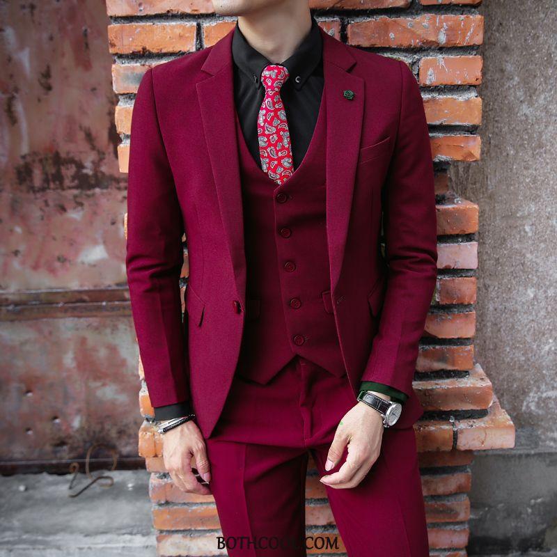 Suits Mens Cheap Wedding Slim Fit Men British Suit Autumn Red