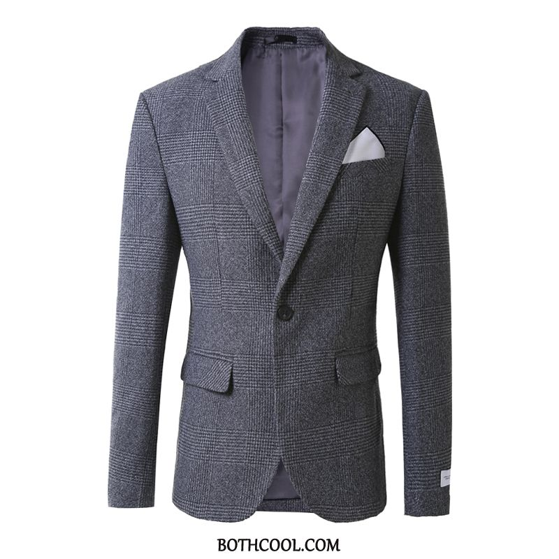 Suits Mens Cheap Woolen Set Suit Winter Three Sets Wedding Light Gray