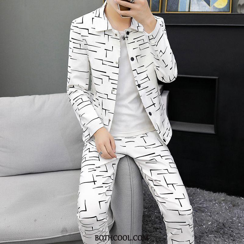 Suits Mens Discount Blazer Long Sleeves Slim Fit Set Men Trend White