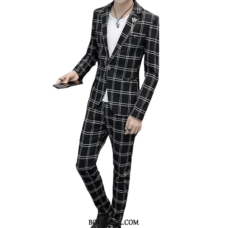 Suits Mens Discount British Slim Fit Set Autumn Men's Casual Black