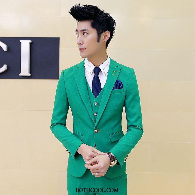 Suits Mens Discount Business Slim Fit Europe Genuine Set Suit Green