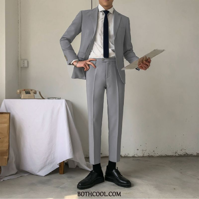 Suits Mens Discount Casual British Business Two Pieces Trend Men's White Gray