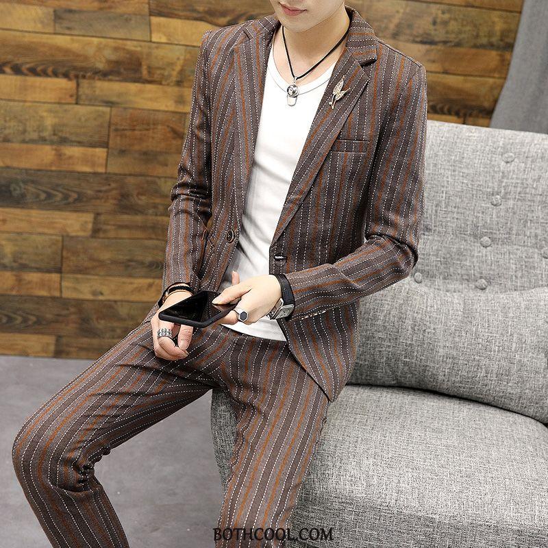 Suits Mens Discount Online Autumn Handsome Set Blazer Fashion Two Pieces Khaki Dark